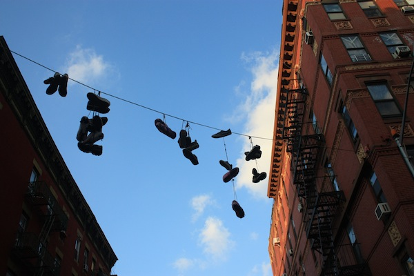 Shoes hanging in the Bowery neighborhood, New York City