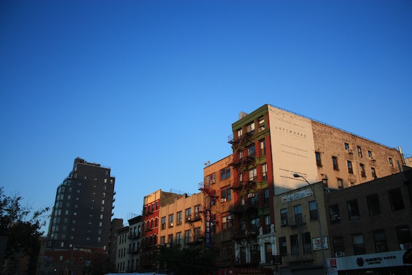 Buildings in afternoon sunshine in the Bowery neighborhood, New York City