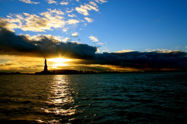 The Statue of Liberty at sunset from Circle Line Cruises