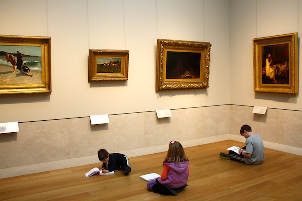Kids drawing in the Metropolitan Museum of Art in New York City