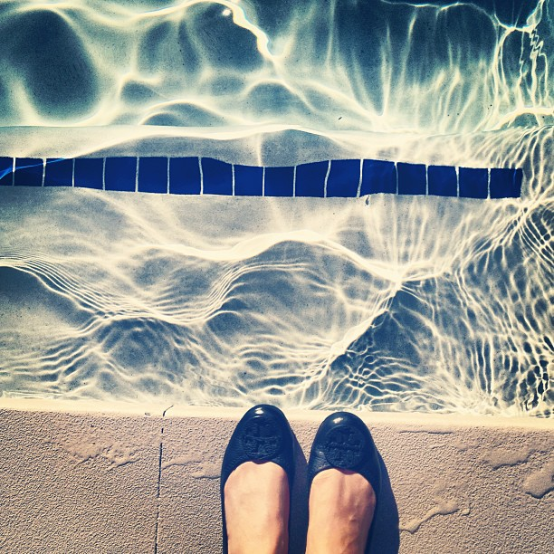 Tory Burch flats at the pool at the MGM Grand, Las Vegas