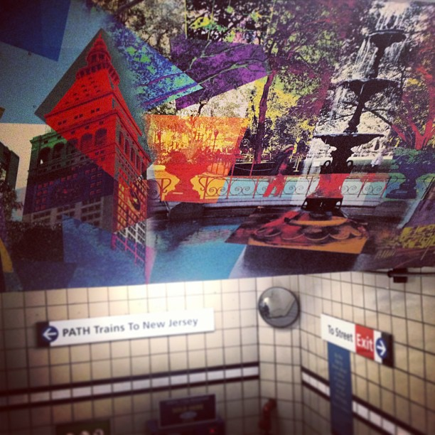 Public transportation mural in New York City subway