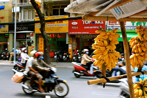 Motorcycles and bananas in Saigon, HCMC VIetnam