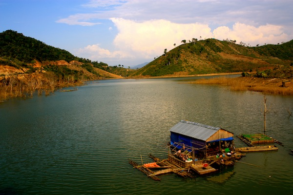 Floating village in the Central Highlands, Vietnam