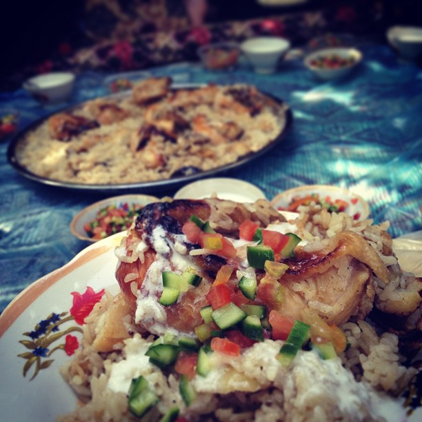 Traditional Upside down chicken and rice in Jordan