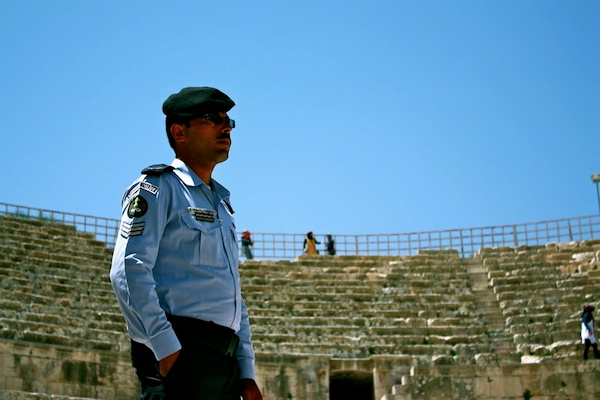 Policeman at the ancient ruins of Jerash in Jordan, Middle East
