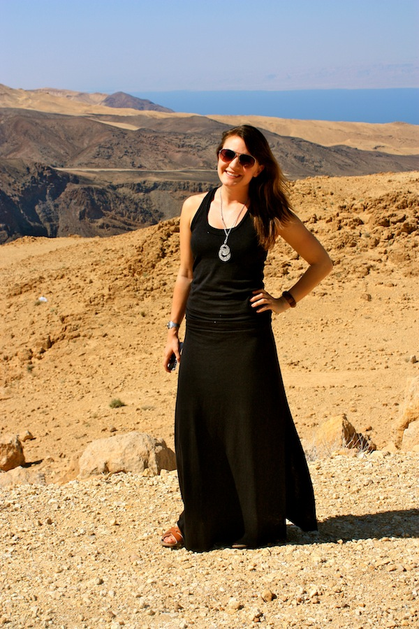 Christine Amorose in a LBD in Jordan, Middle East