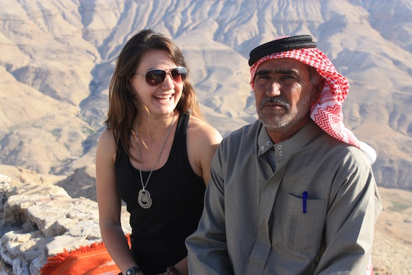 Christine Amorose and Beduoin man in Jordan