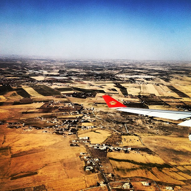 First view of Jordan from Royal Jordanian Airlines