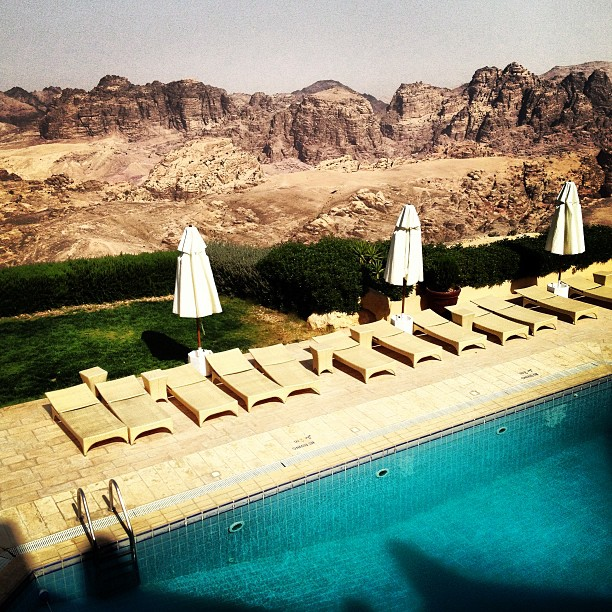 View of the desert from the pool at the Petra Marriott