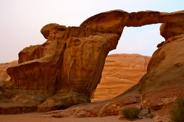 Natural arch in Wadi Rum Desert, Jordan