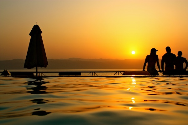 Sunset at the Movenpick Dead Sea resort in Jordan