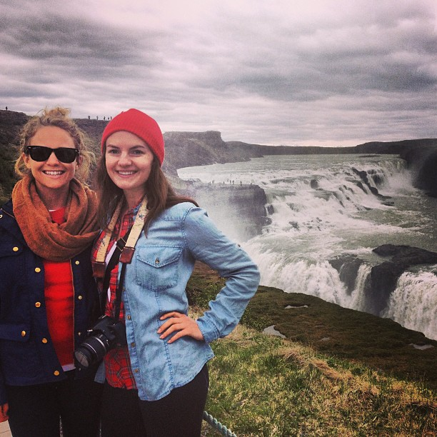 Aly Gill and Christine Amorose at Gullfoss waterfall in Iceland