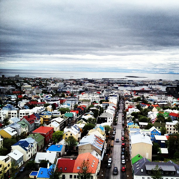 View of Reykjavik from the church Hallgrimskirkja