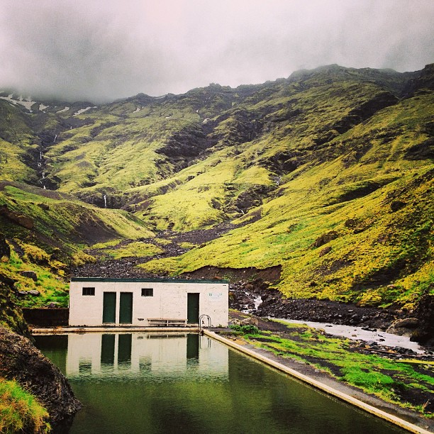 Seljalandslaug, the first public swimming pool in Iceland