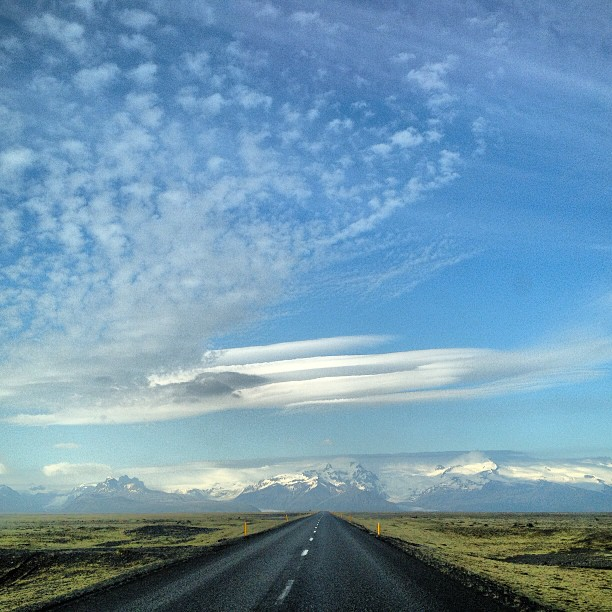 Iceland road trip with blue skies and glaciers