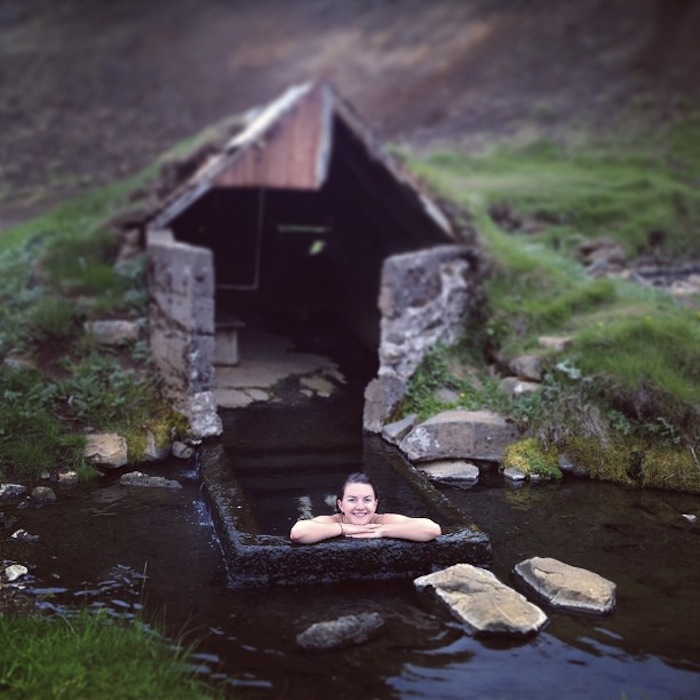 Christine Amorose in a swimming hole in Iceland