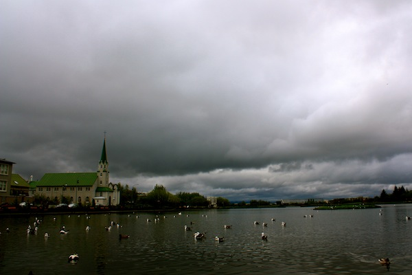 Lake and church in Reykjavik, Iceland
