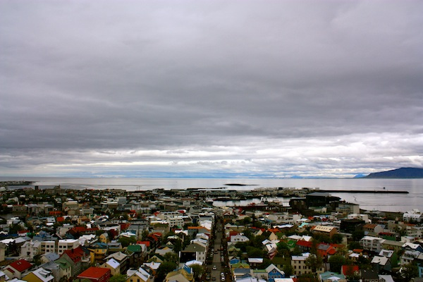 View of Reykjavik, Iceland from concrete church