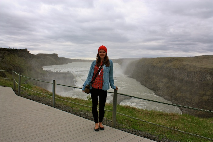 Christine Amorose at Gullfoss Waterfall, Iceland