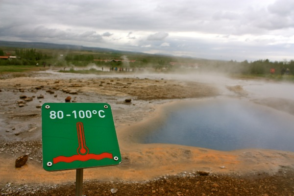 Geysir temperature on Golden Circle in Iceland