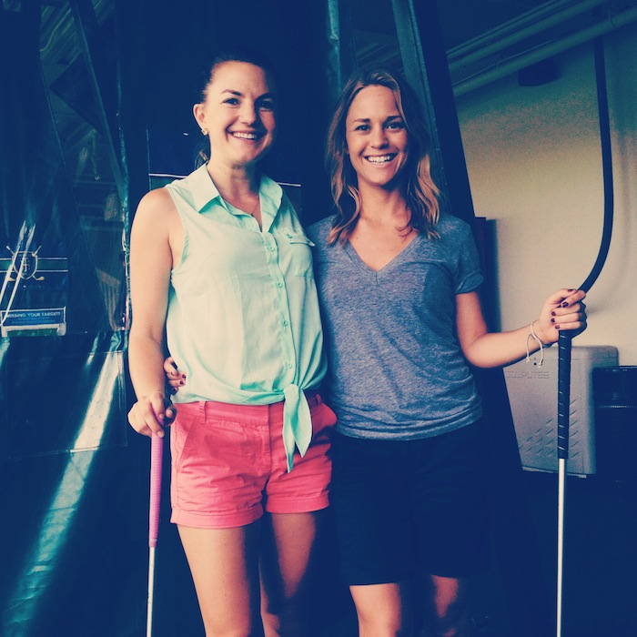 Christine Amorose and Aly Gill at Chelsea Piers Golf Club, New York City