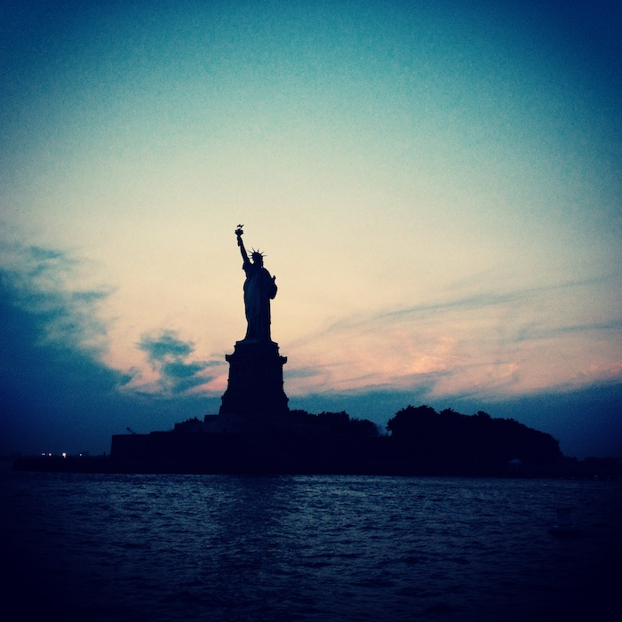 Statue of Liberty at sunset on Clipper City