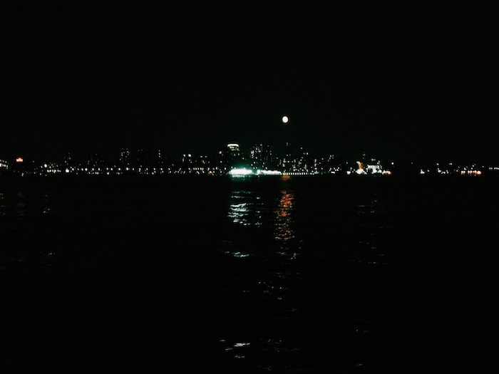 Moon over Brooklyn from Clipper City, Manhattan by Sail