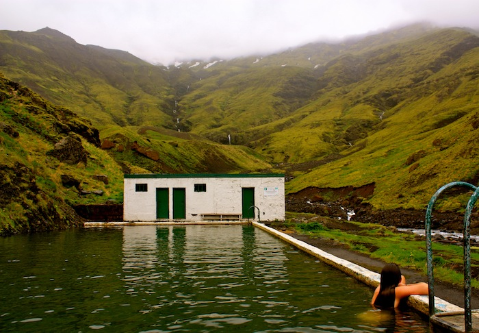 Christine Amorose in Seljavallalaug swimming pool in Iceland
