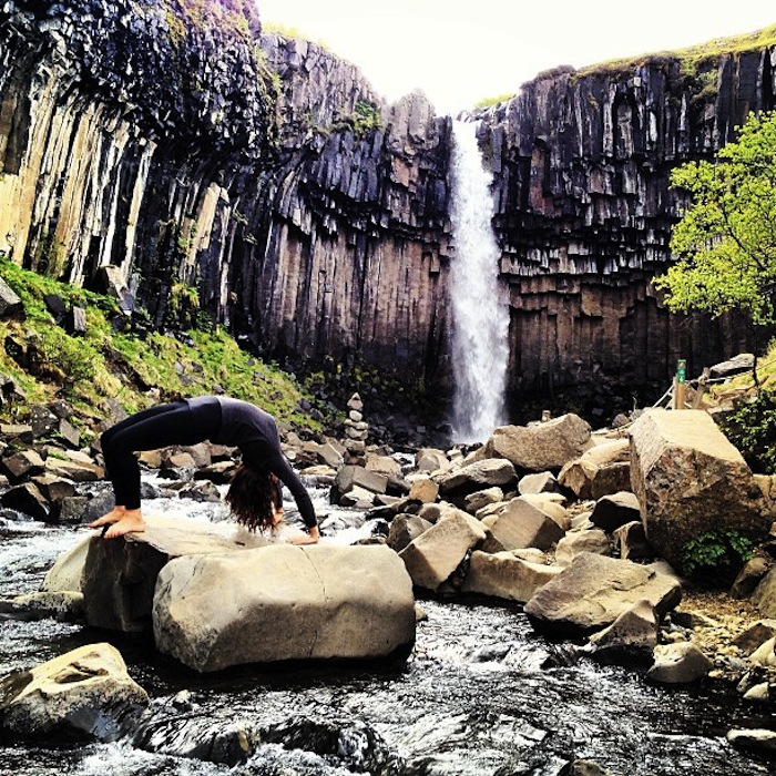 Christine Amorose in Wheel Pose in Iceland