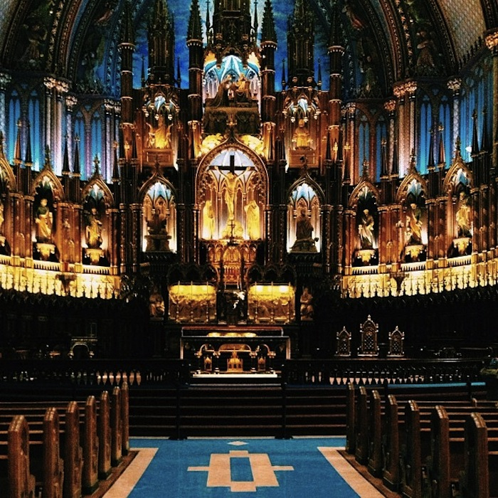 Inside of Notre-Dame Basilica in Montreal