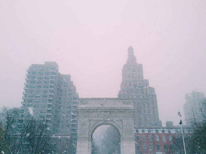 Washington Square in the snow, Processed with VSCOcam with c1 preset