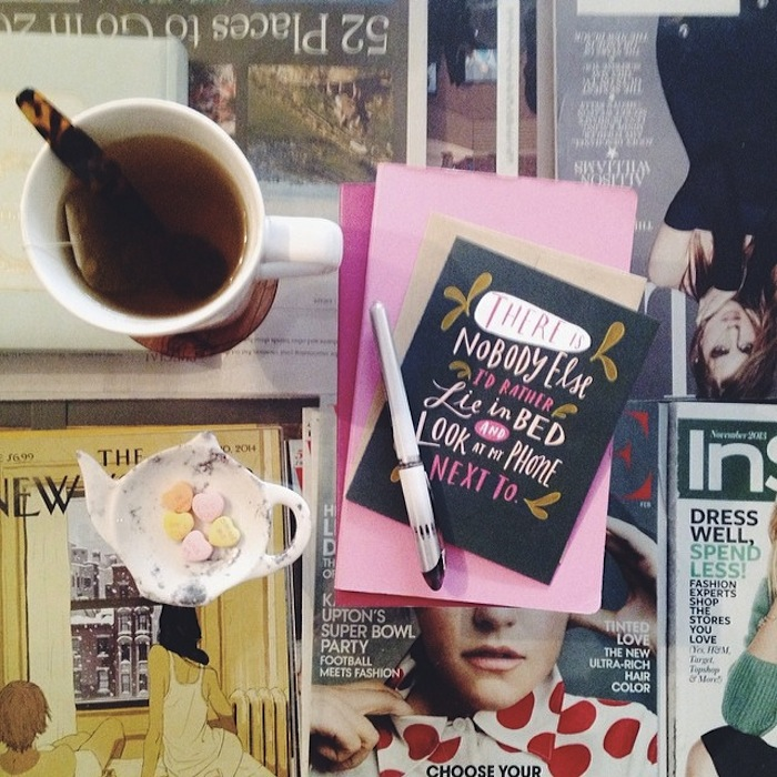 Emily McDowell print and tea at home with Christine Amorose