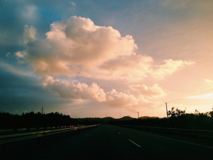 Sunset while driving in the Dominican Republic