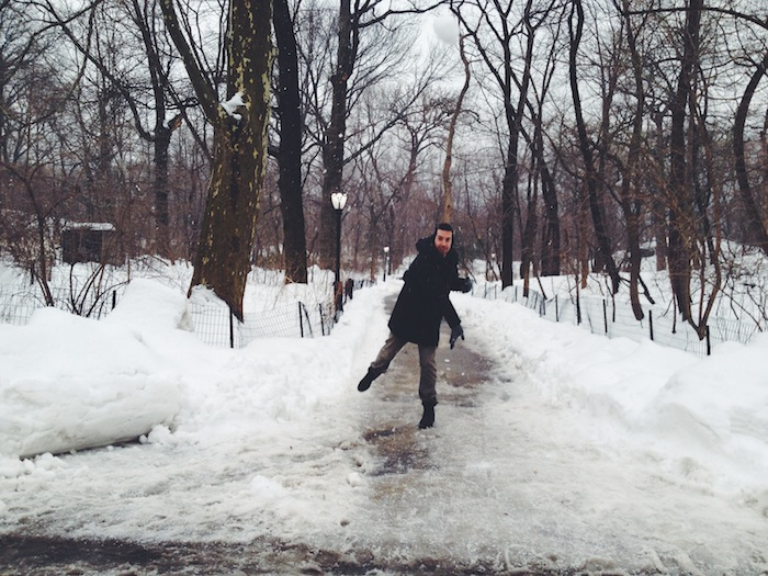 Throwing snowballs in Central Park in New York City in the snow