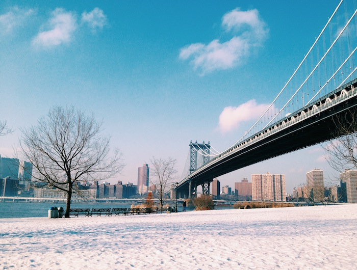 Clear skies in DUMBO, Brooklyn after a snowstorm