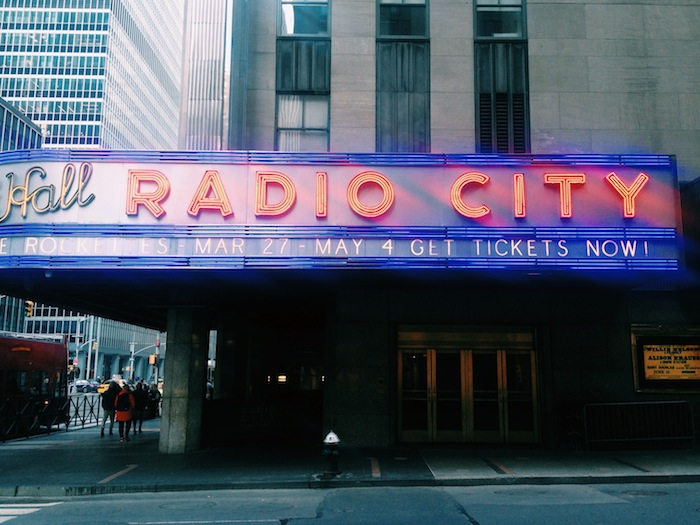 Radio City Music Hall  in Midtown New York City on a beautiful spring day