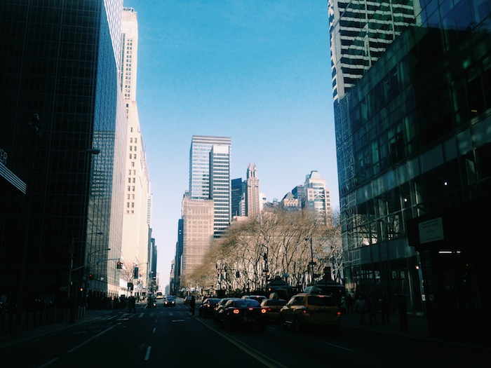 Streets of Midtown New York City on a beautiful spring day
