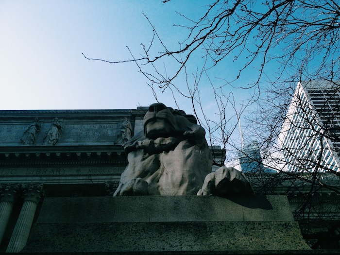 New York Public Library on a beautiful spring day