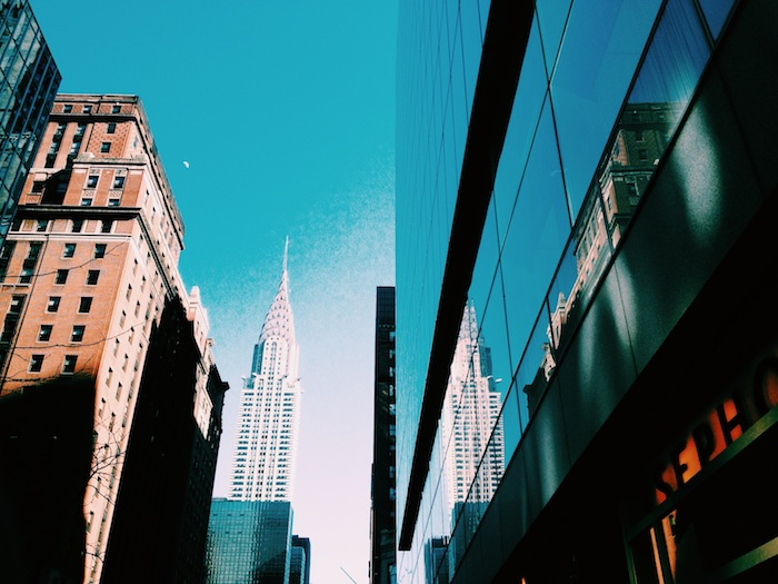 Chrysler Building reflection in midtown New York City