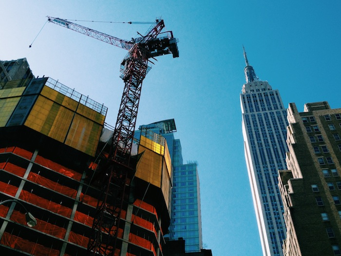 Empire State Building in midtown New York City under construction