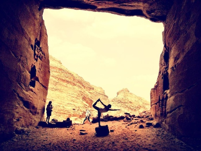 Christine Amorose doing yoga in Petra, Jordan