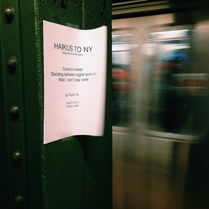 Haikus to NY spotted in Williamsburg subway