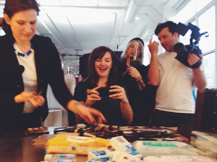 Christine Amorose behind the scenes at the Sally Hansen #ShineOn campaign