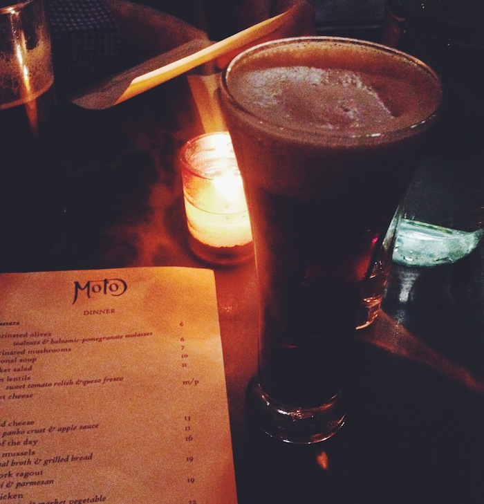 Black Velvet prosecco and Guinness at Cafe Moto Brooklyn