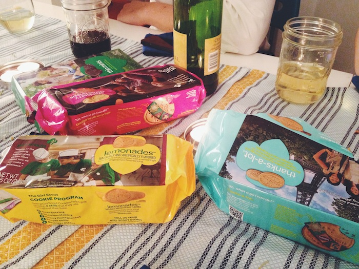 Girl Scout cookies for dessert