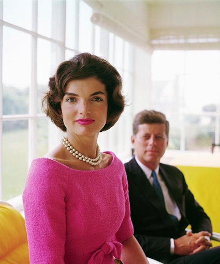 Jackie O with hot pink lipstick