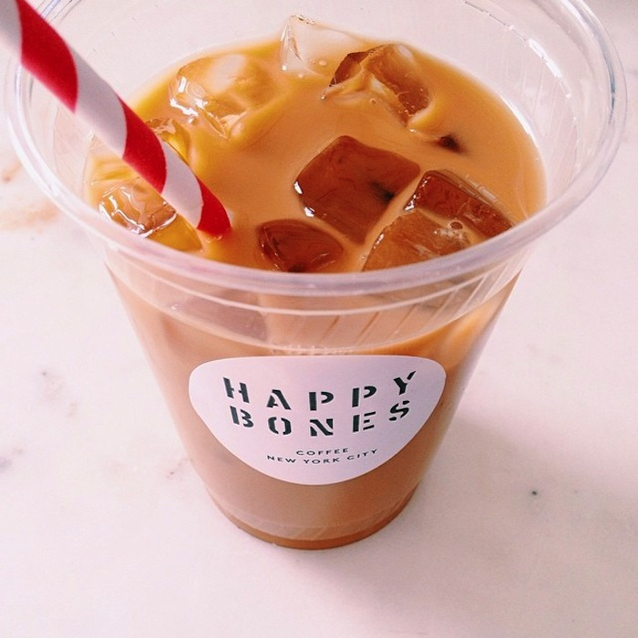Iced coffee at Happy Bones in New York City