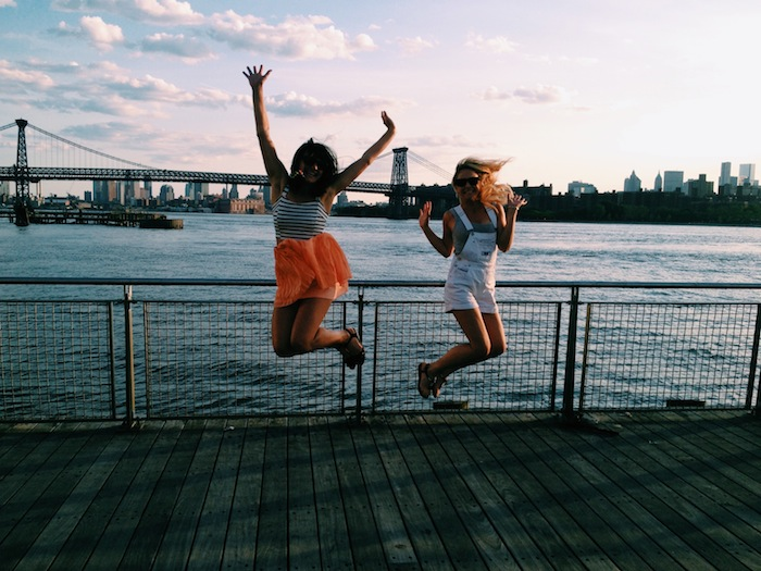 Jumping in front of the Williamsburg Bridge, Brooklyn