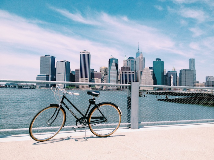 BIke riding along the Brooklyn Heights Promenade